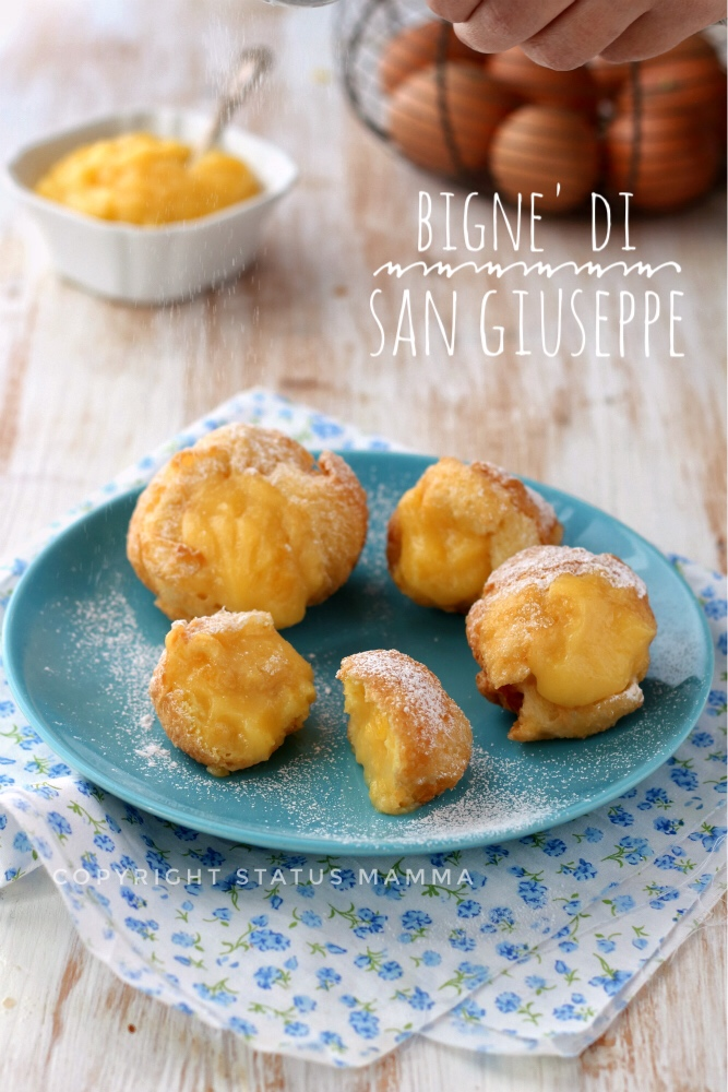 Bigne' di San Giuseppe alla crema pasticcera