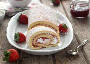 ricette con la frutta cosa cucinare a marzo Rotolo di pasta biscotto con panna e confettura di fragole