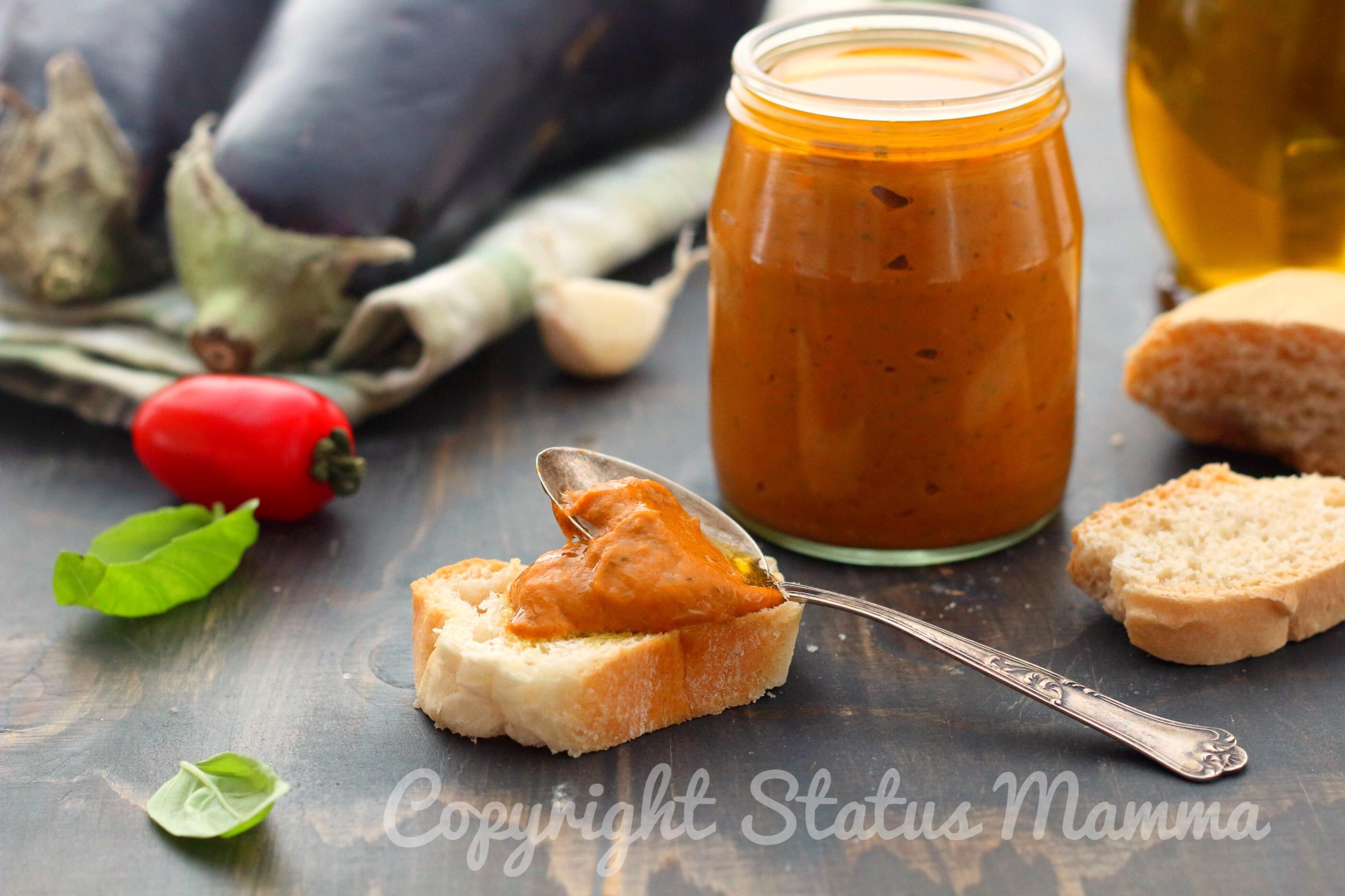 Pesto rosso di melanzane ricetta con e senza bimby vegetariana
