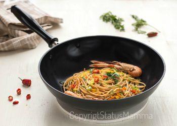 Spaghetti integrali saltati di zucchine e peperoni agli scampi sambonet spadellando spadelliamo con