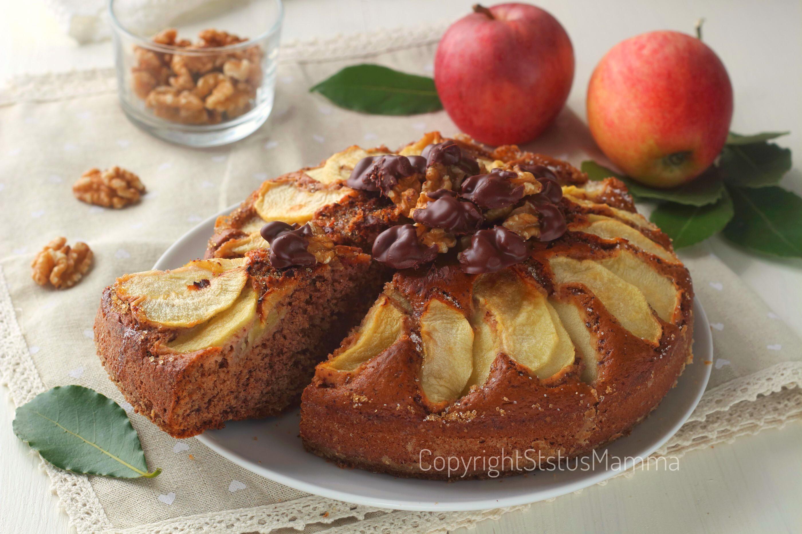 Torta di mele al cioccolato e noci 2
