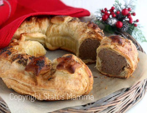 Ciambella rustica in pasta sfoglia ripiena natalizia