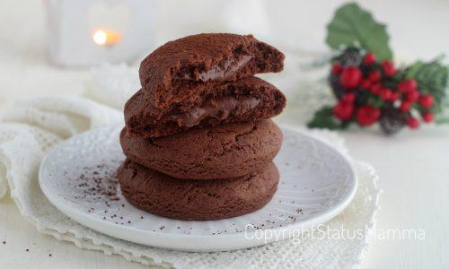 Biscotti alla panna e cacao cuor di nutella che non si secca in cottura