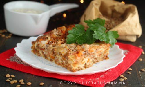 Lasagne con ragù di lenticchie al forno