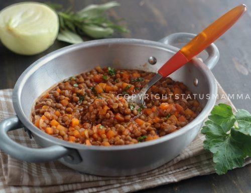 Ragù semplice di lenticchie ricetta vegetariana