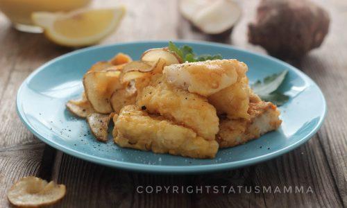 Baccalà dorato in pastella con chips di topinambur
