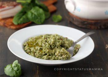Risotto spinaci e pancetta gustoso