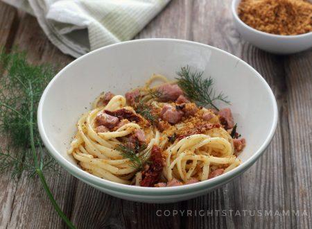 Pasta al tonno con briciole di taralli primo piatto veloce facile