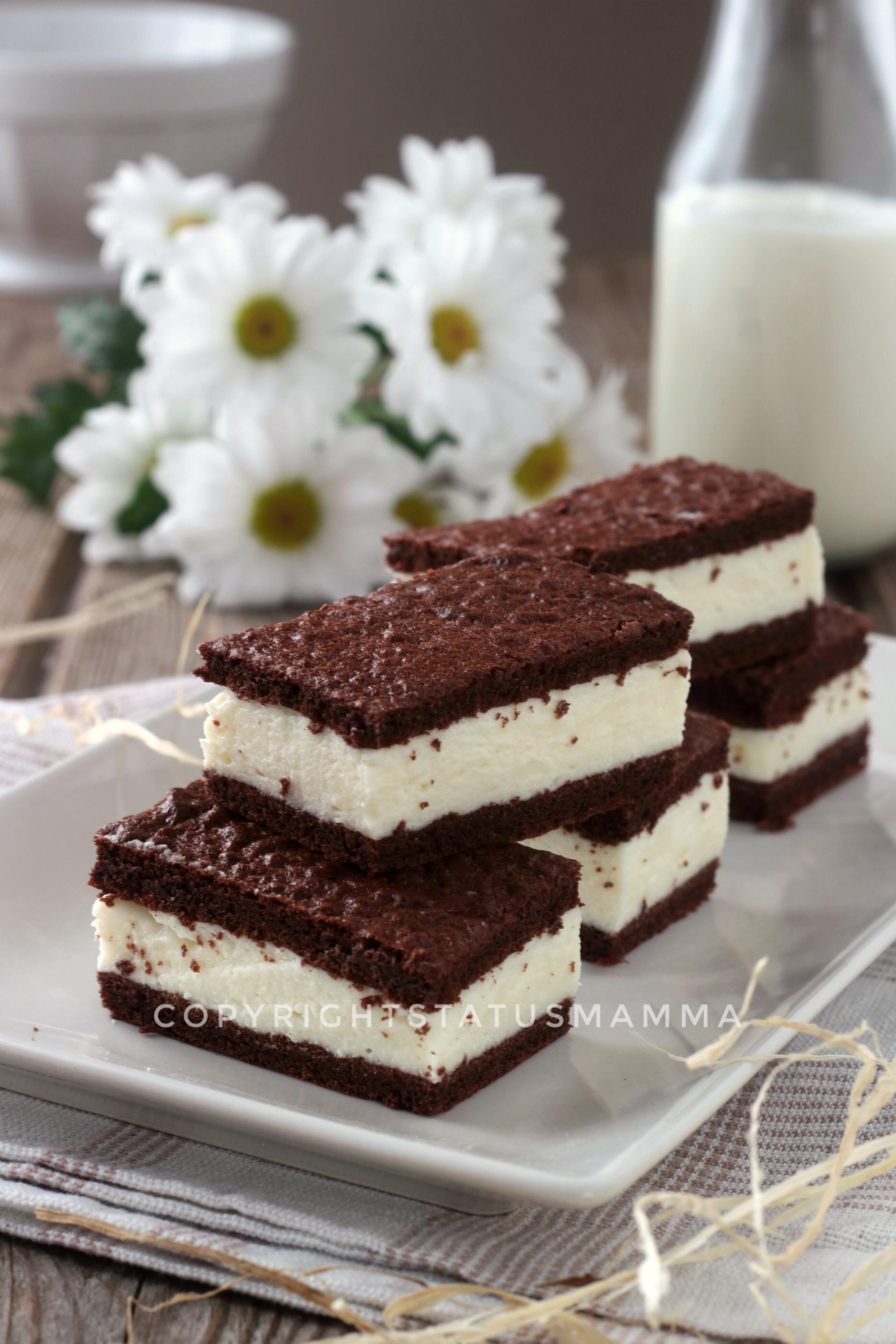 Merendine al cacao con crema semplice al latte