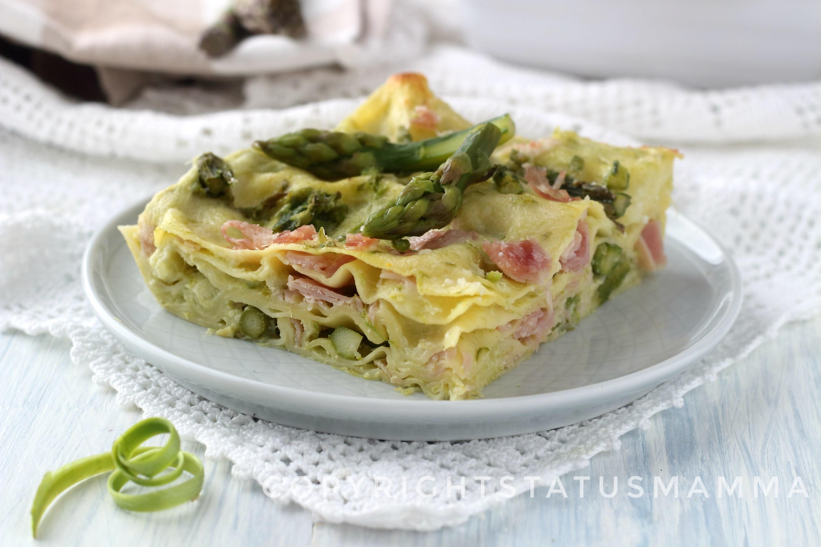 RICETTE CON LE VERDURE DI MAGGIO - Lasagne agli asparagi e prosciutto cotto facile e veloce