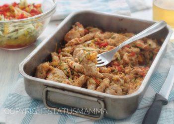 Straccetti di pollo peperoni e zucchine gratinati della nonna