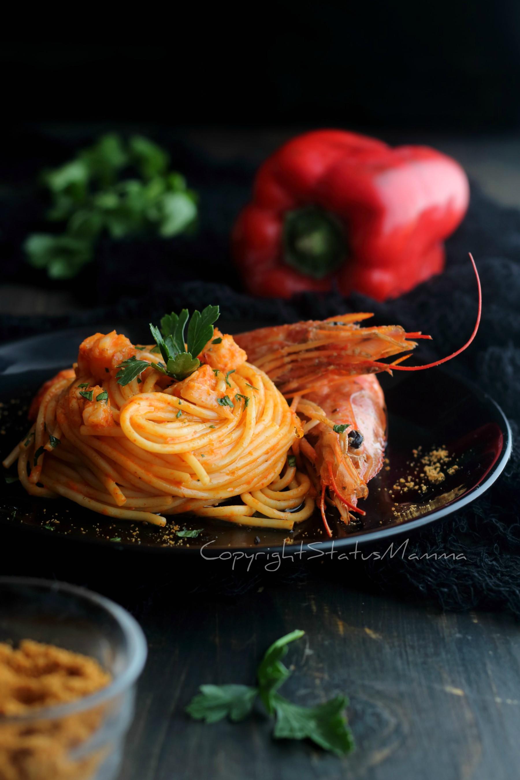 Spaghetti ai gamberi e peperoni cremosi - primo piatto veloce