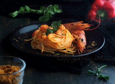Spaghetti ai gamberi e peperoni cremosi – primo piatto veloce