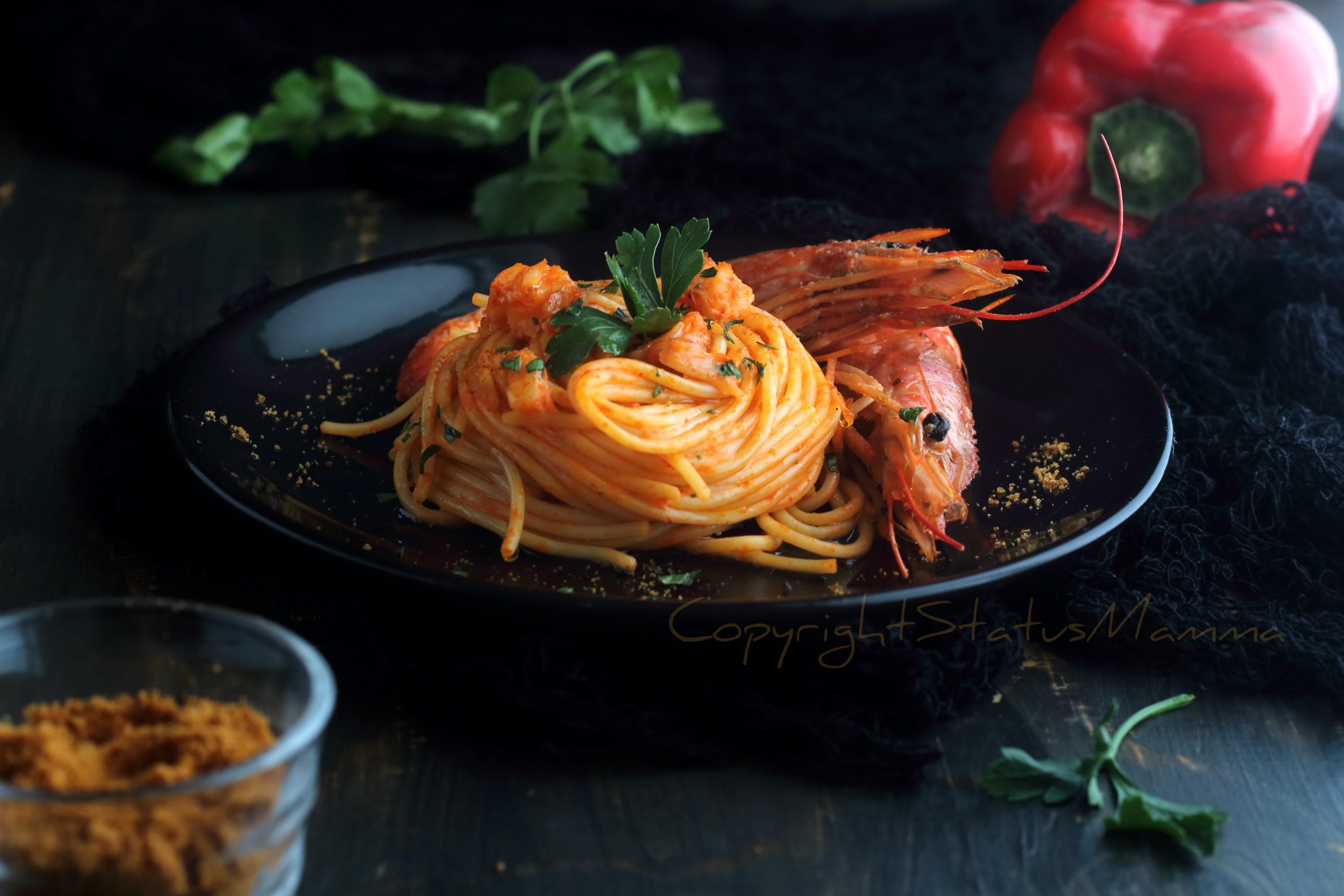 Spaghetti ai gamberi e peperoni cremosi - primo piatto veloce primi piatti estivi di mare