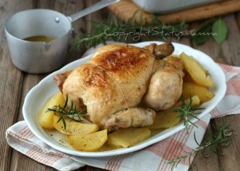 Pollo arrosto della nonna con patate ricetta tradizionale