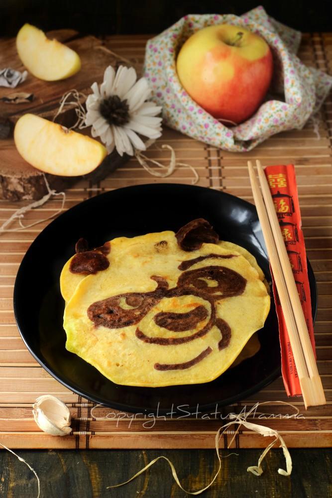 Kung fu panda pancake con purea di mele - tutorial facile