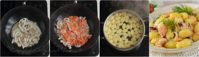 Ricetta gnocchi salmone e seppioline primo facile