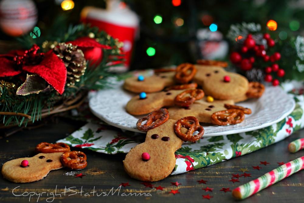 Biscotti a forma di renna Rudolph di Babbo Natale ricetta facile