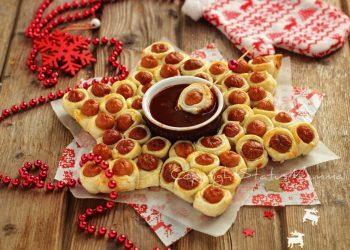 antipasti di capodanno cenone  RICETTE di Natale dall'antipasto al secondo Stella di Würstel e pasta sfoglia ricetta antipasto veloce