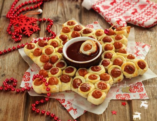 Stella di Würstel e pasta sfoglia ricetta antipasto veloce