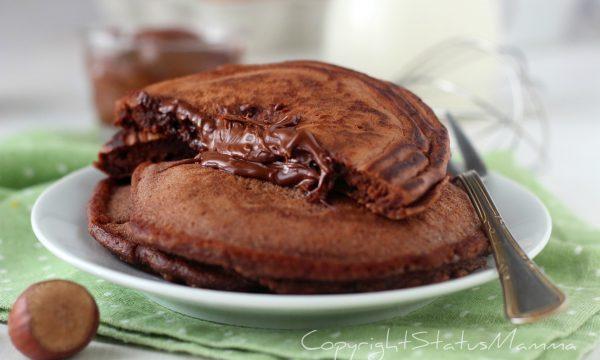 Pancake al Cacao con ripieno alla nutella che non si secca in cottura.