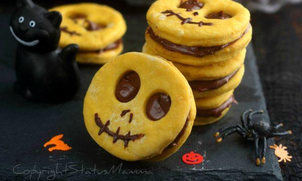 Biscotto di halloween alla nutella con impasto alla zucca