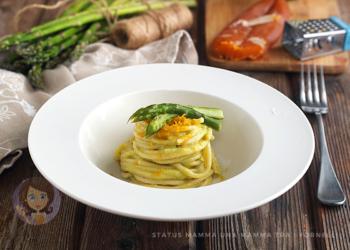SPAGHETTI AL PESTO DI ASPARAGI E BOTTARGA ricetta con verdure facile e veloce