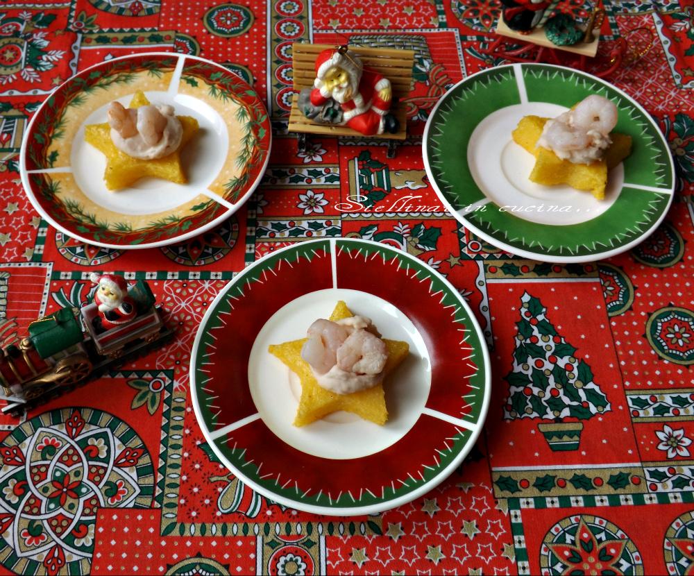 Tartine di polenta con crema di cannellini e gamberetti