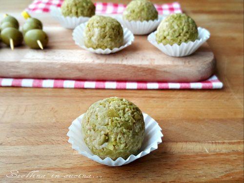 Tartufi salati alle olive e tonno