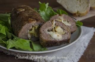 ricetta polpettone con carciofini e mozzarella ricetta secondo gustoso polpettone ripieno