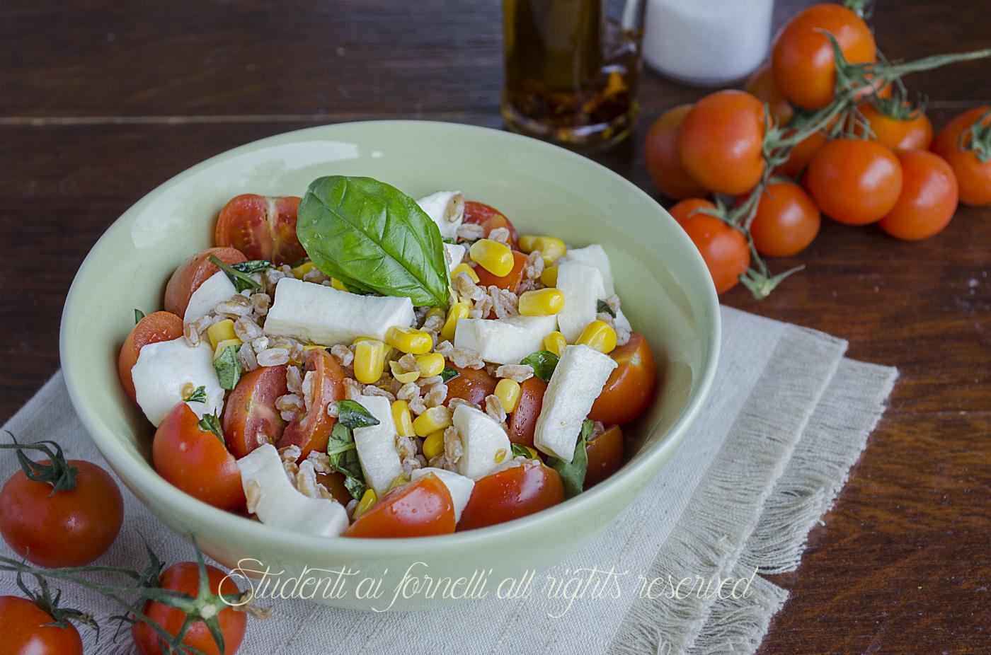 Insalata di farro con pomodori e mozzarella estiva ricetta for Insalate ricette