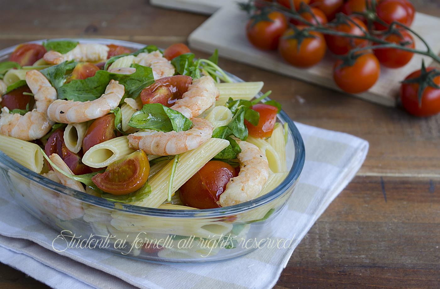 Pasta fredda con gamberi rucola e pomodorini ricetta for Ricette piatti freddi