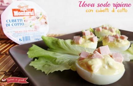 uova sode ripiene light allo yogurt con cubetti di cotto ricetta antipasto sfizioso