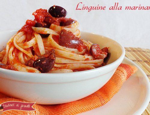 Linguine alla marinara con olive e capperi