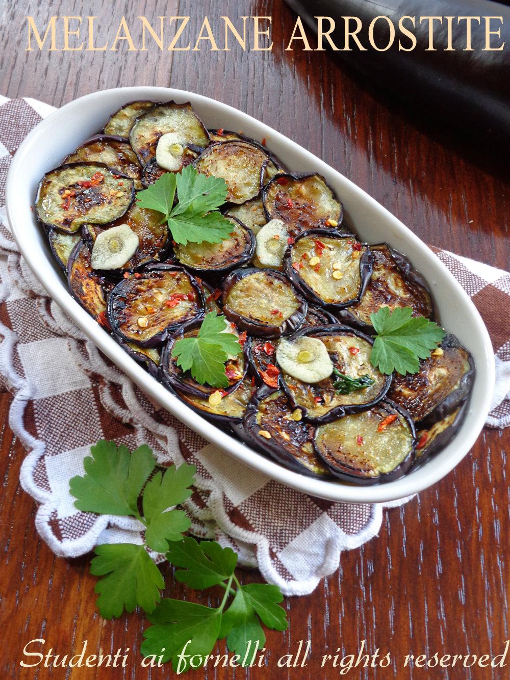 melanzane arrostite e condite ricetta contorno sfizioso