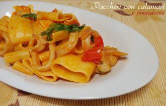 paccheri con calamari e pomodorini ricetta primo di pesce veloce