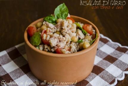 insalata di farro ceci tonno rucola e pomodorini ricetta estiva