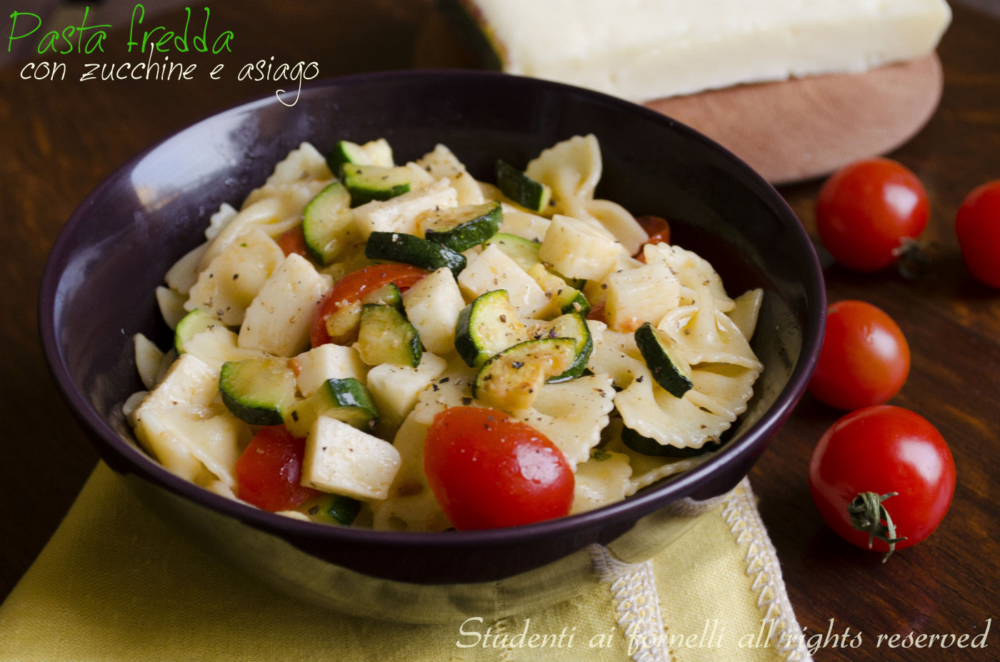 pasta fredda con zucchine e asiago ricetta insalata estiva