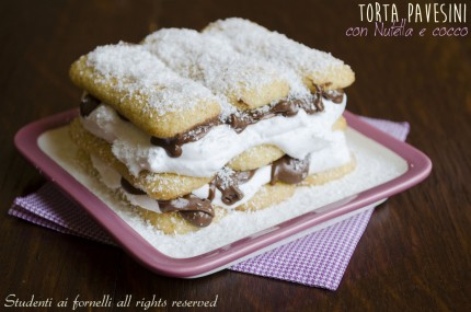 torta pavesini con nutella e cocco panna ricetta dolce freddo veloce