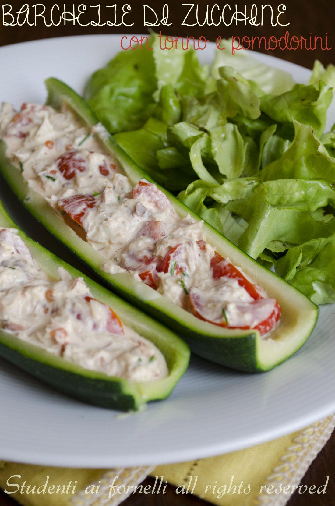 barchette di zucchine fredde con tonno pomodorini e maionese ricetta estiva  sfiziosa
