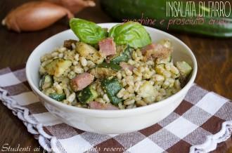 insalata di farro zucchine prosciutto crudo e pesto ricetta farro estivo