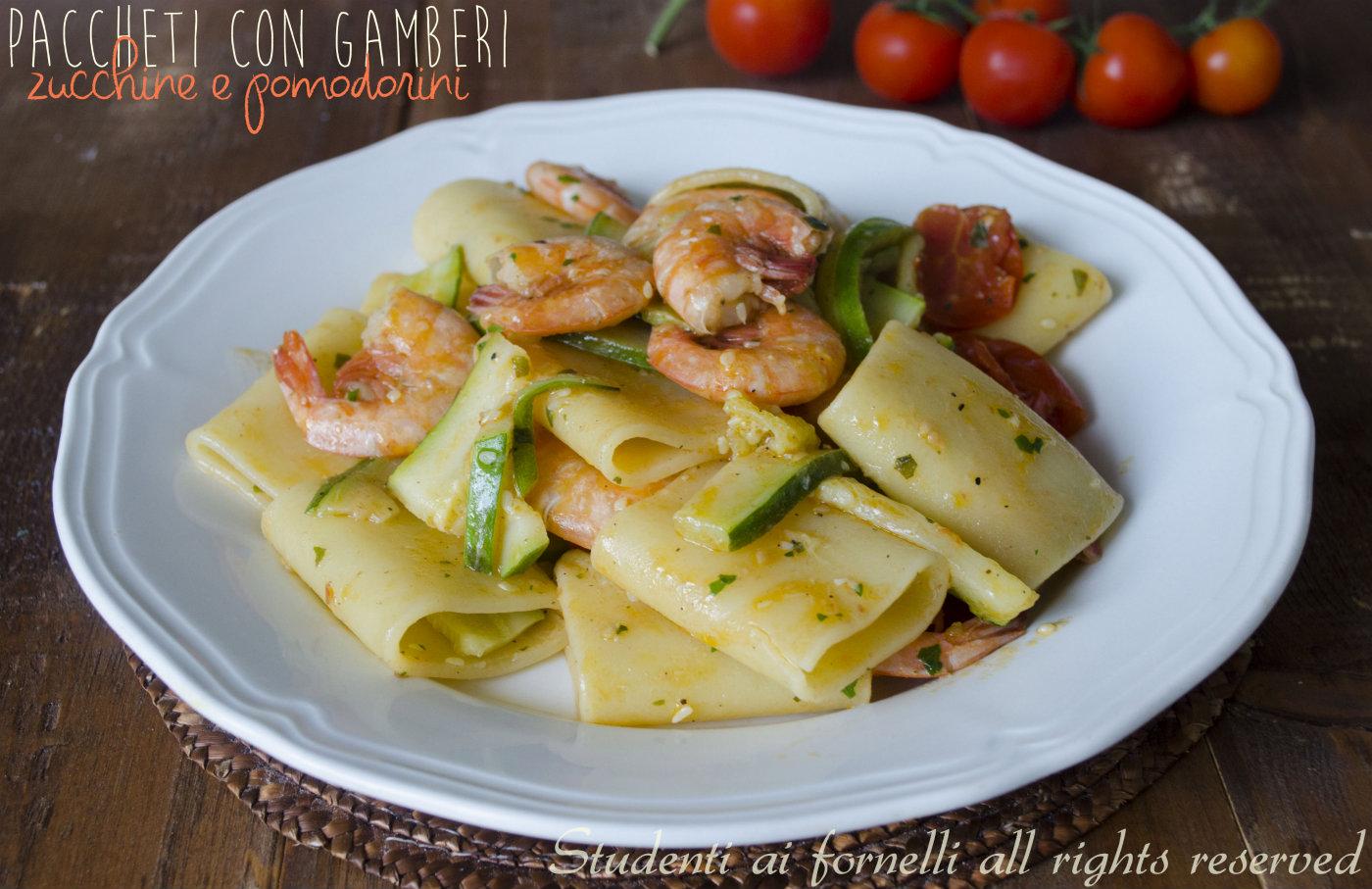 Paccheri con gamberi zucchine e pomodorini ricetta primo for Ricette bimby pesce primi piatti