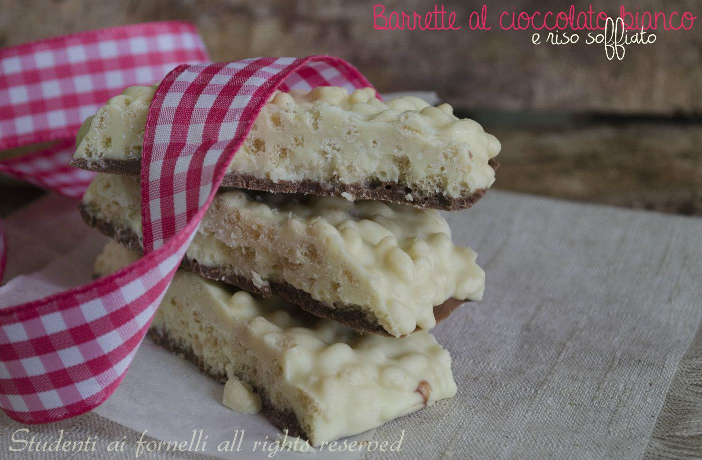 barrette al cioccolato bianco e riso soffiato ricetta ciocorì fatto in casa facile e goloso