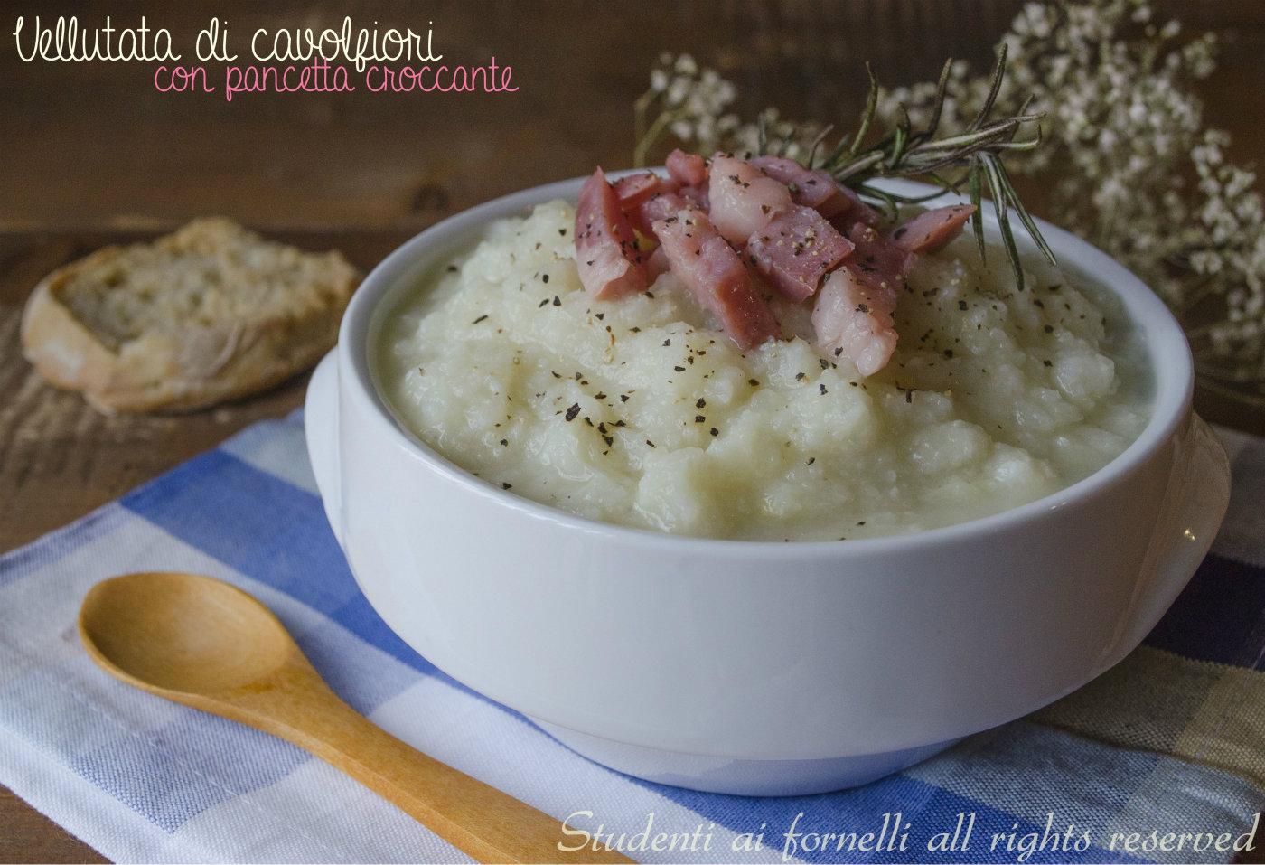 vellutata di cavolfiore con pancetta croccante e patate ricetta primo gustoso crema di cavolfiori