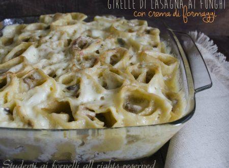 Girelle di lasagna funghi e crema ai formaggi