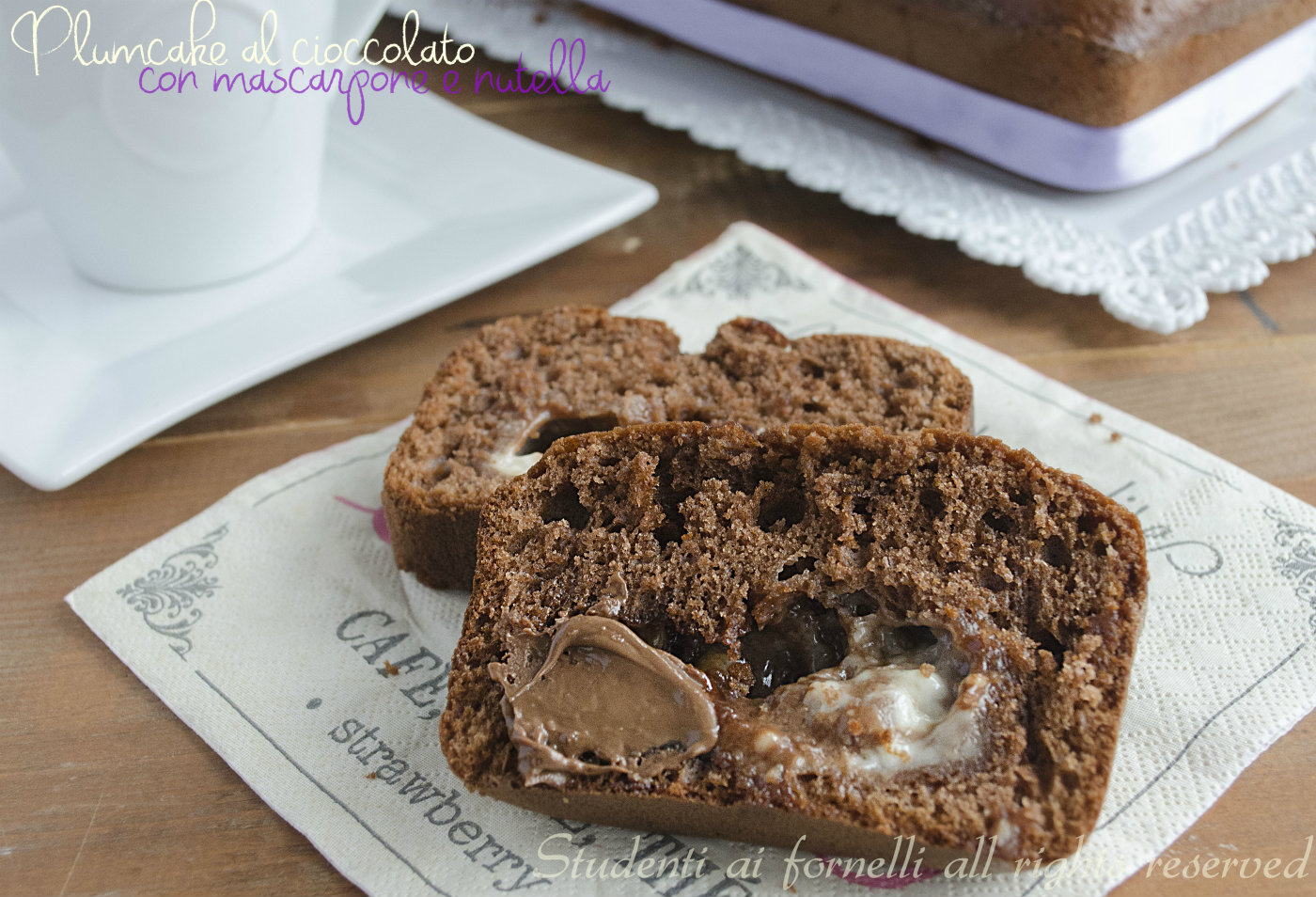 plumcake al cioccolato nutella e mascarpone con cuore morbido ricetta dolce colazione e merenda