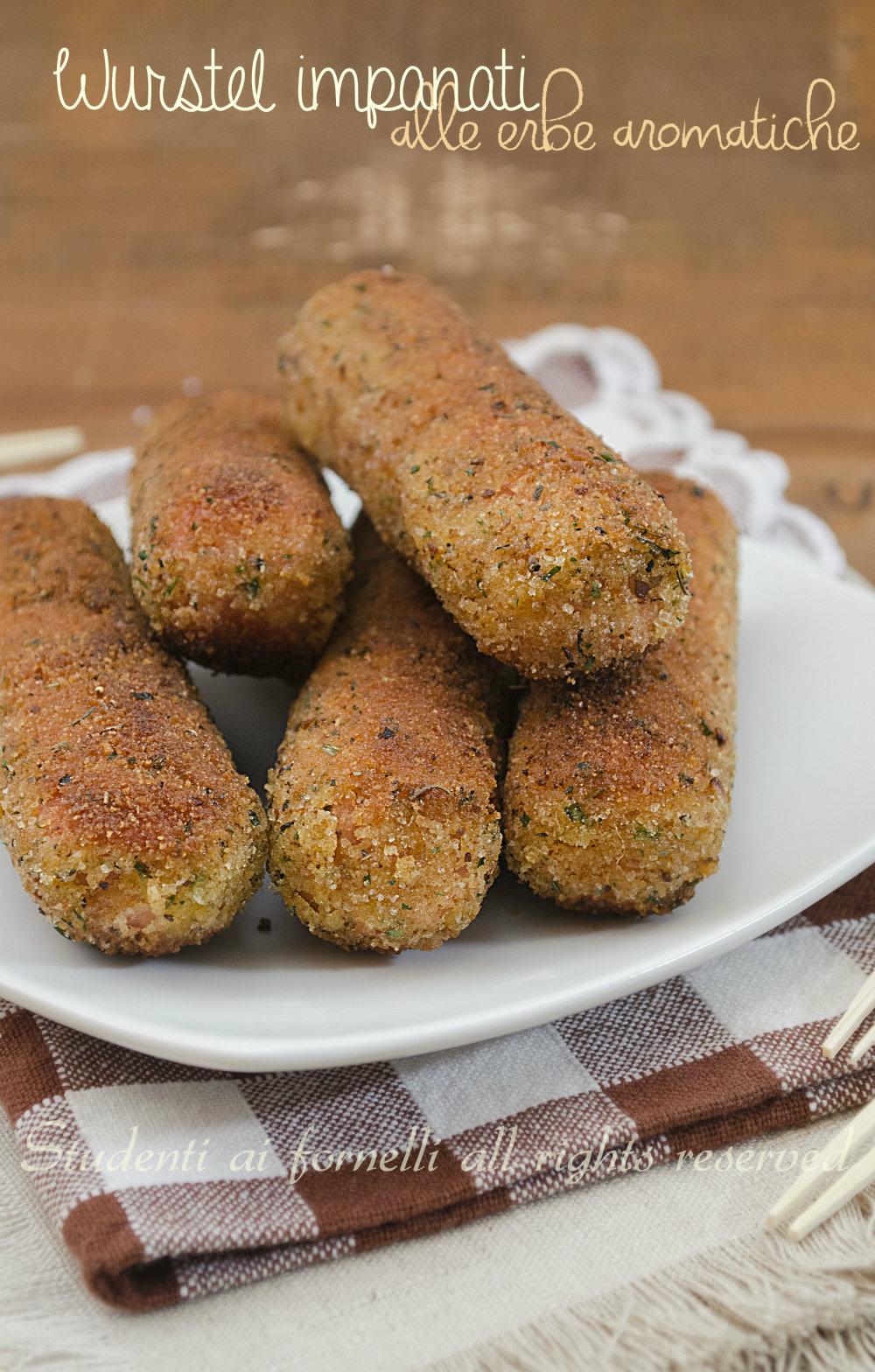 wurstel impanati alle erbe aromatiche ricetta wurstel fritti tipo corn dogs americani ricetta