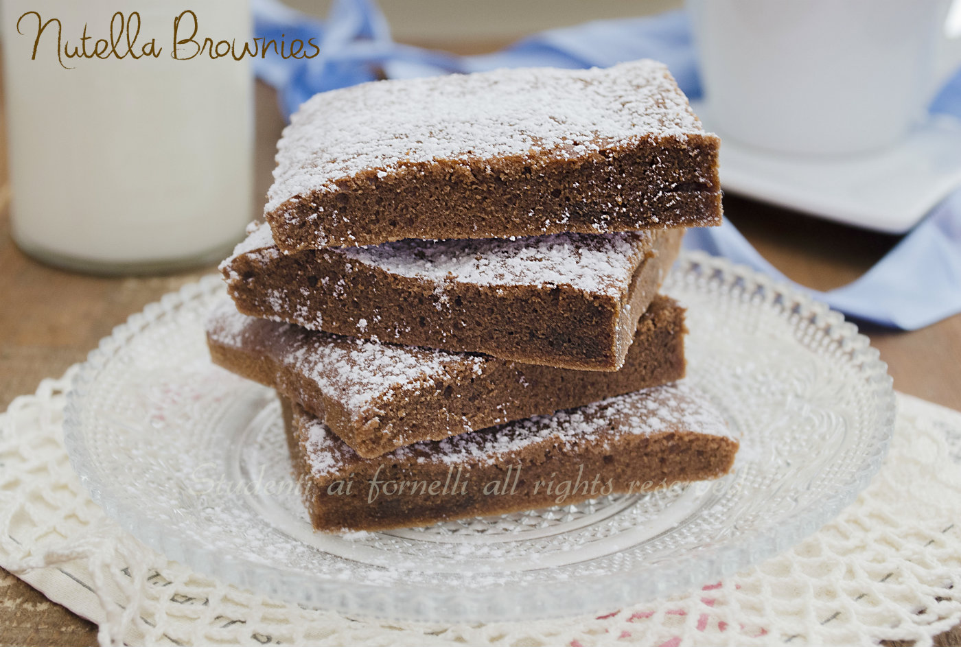 nutella brownies velocissimi senza burro, senza latte, con solo 3  ingredienti facili