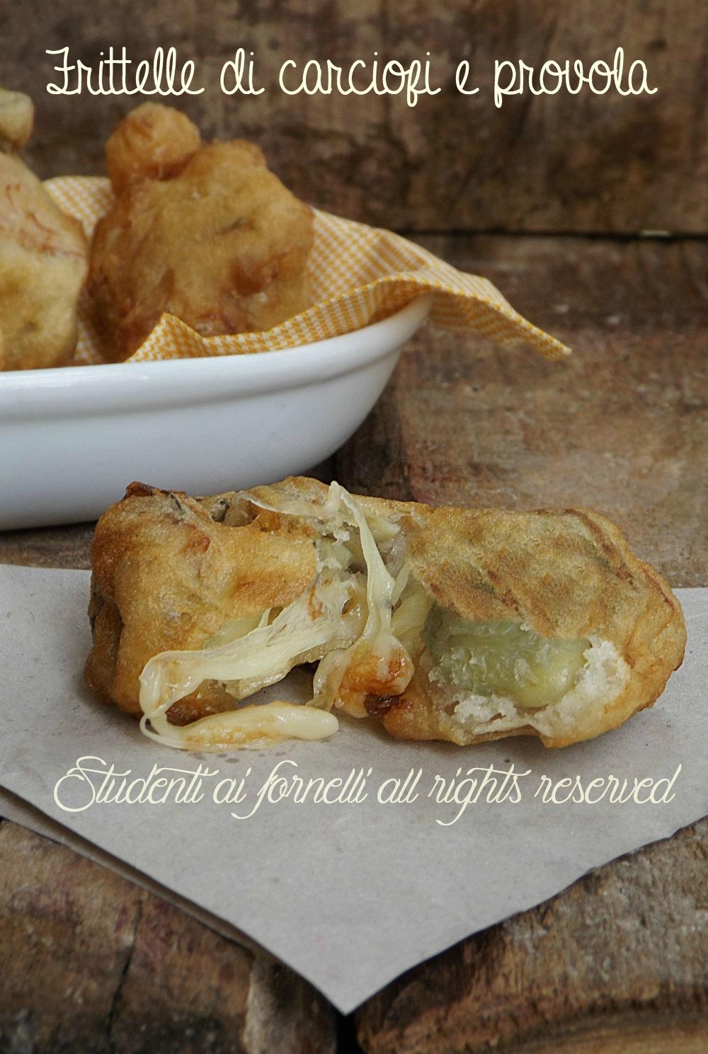 frittelle di carciofi e provola vegetariane antipasto secondo gustoso sfizioso