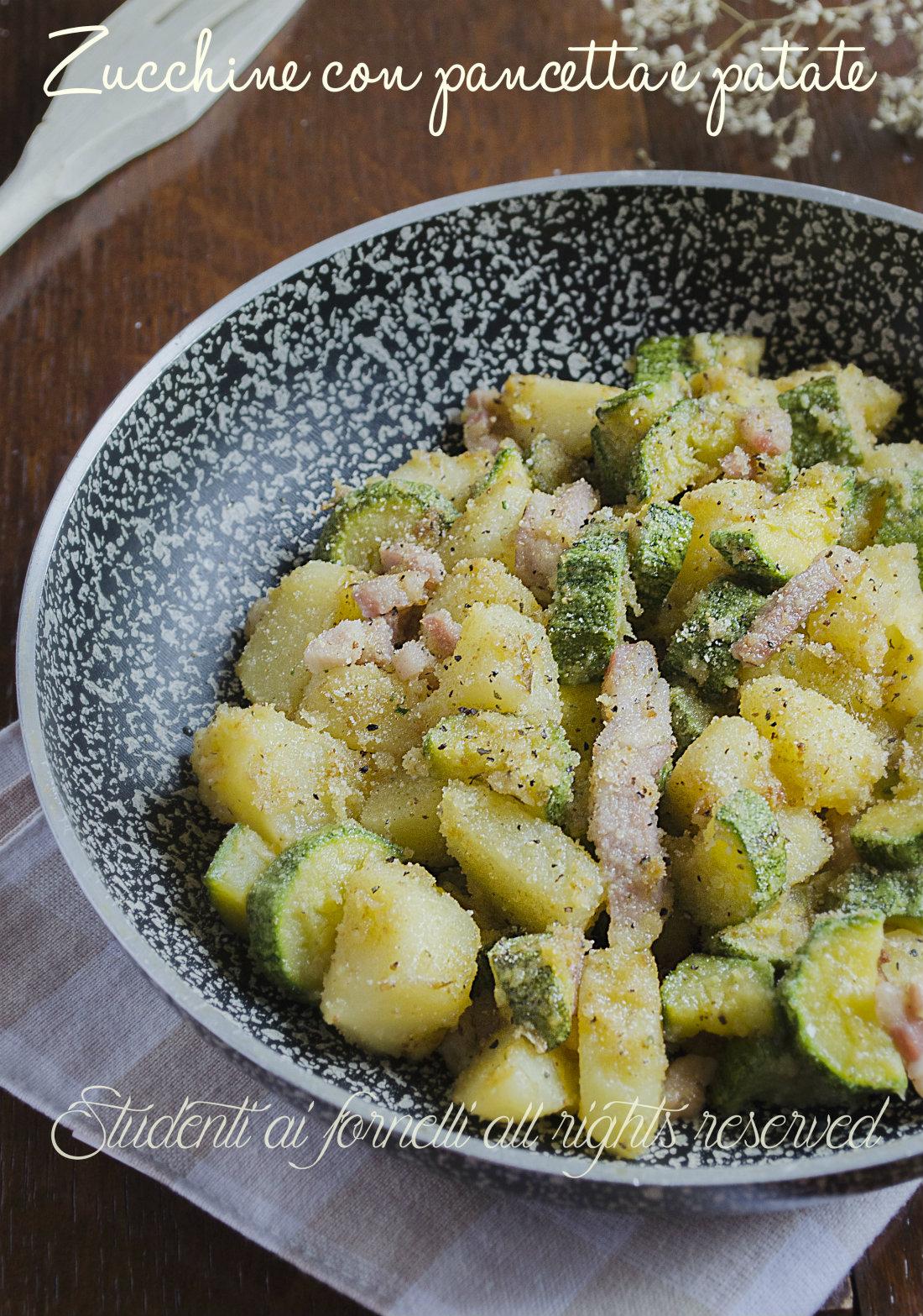zucchine con pancetta e patate in padella ricetta contorno gustoso